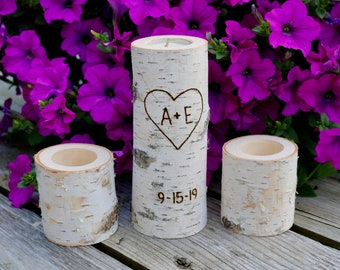 White Birch Unity Candle Holder Set, Candle Holders, Birch Candles, Unity Set