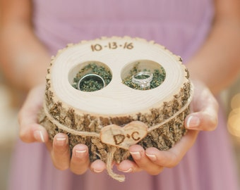 RING BOX - Ring Pillow - Personalized WOOD Ring Holder - Ring Bearer - Wood Ring Box - Rustic Country Wedding - Ring Pillow Alternative