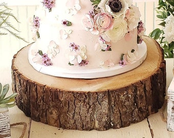 Wood Cake Stand, Large Thick Wood Slice, Rustic Cake Stand, Wood Slices, Wood Round