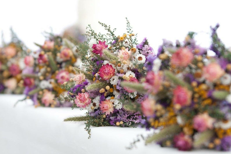 Field Flower Dry Flower Bouquet Wedding Bouquet Purple image 0
