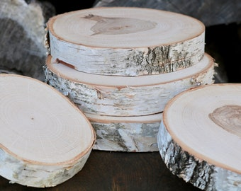 White Birch Slices, Thick Wood Slices, Tree Slices, Natural Wood Stand, Wood Slab, Wood Cake Stand, Slice of Wood, Wild Thing