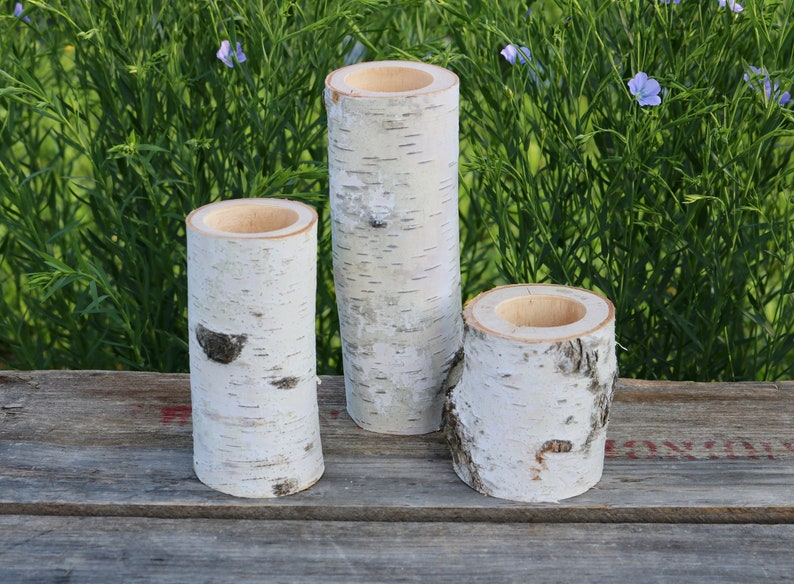3 WHITE BIRCH Wood Candle Holders  Simple Natural Wedding image 0