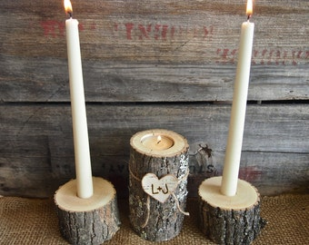 Unity Candle Set for Weddings, Candle Holders, Natural Rustic Wedding Candle Holders