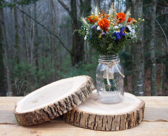 2 Wood Wedding Centerpieces Natural Wood Slices Tree Cake Etsy