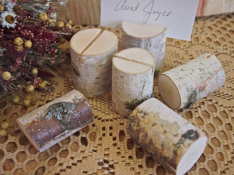 6 White Birch Name Card Holders Woodland Wedding Natural image 0