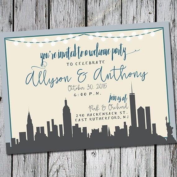 Handmade Detroit Skyline Wedding Invitations By Lano
