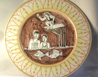 Vintage Mid Century Modern Hand Made Positiano Pottery Platter Made in Italy