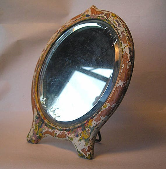 An Antique Beveled Glass Mirror In Distressed Painted Wood Etsy