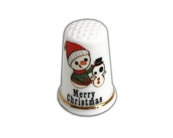 Personalised Thimble Stocking Filler, BN Personalised Bone China Thimble Christmas Gift Dotty Snowman Thimble with Display Case