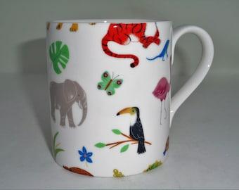 BN Boxed Jungle Animal Personalised Small Bone China Mug Small Child/'s Mug