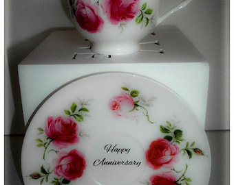 Vintage Style Fine Bone China Teacup Personalised, Vintage Floral Pink Rosebud Teacup and Saucer, Gift For Her, Gift For Mum