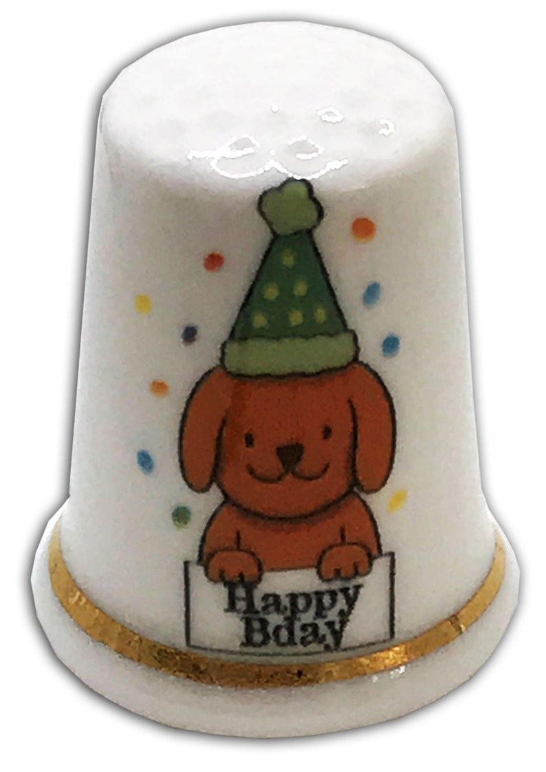 BN Personalised Fine Bone China Happy Birthday Dog Thimble with Display Case Personalised Thimble Dad Thimble,
