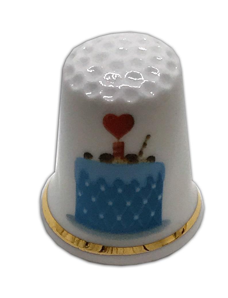 BN Personalised Fine Bone China Happy Birthday Cake Design 2 Thimble with Display Case Personalised Thimble