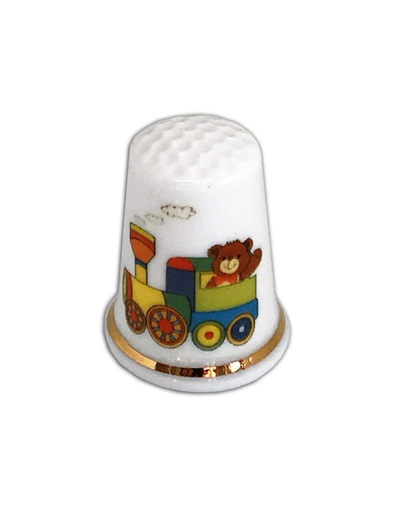 BN Personalised Fine Bone China Thimble Personalised Thimble, Blue Topped Blue Bear Design Thimble with Display Case