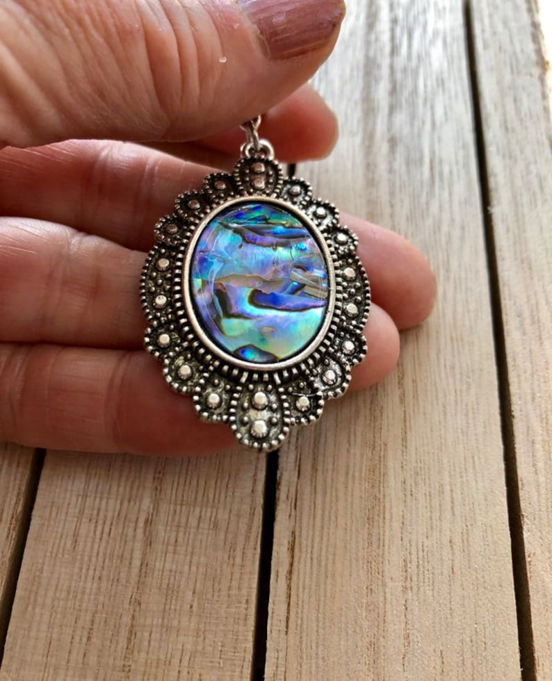 Abalone Necklace Blue green jewellery Paua Shell Jewelry gifts Abalone Shell Pendant Abalone Jewelry Abalone Earrings Shell Jewelry