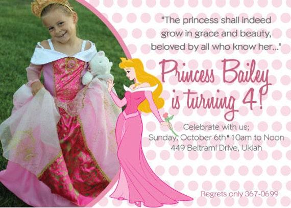DIY Princess Aurora Birthday Invitation