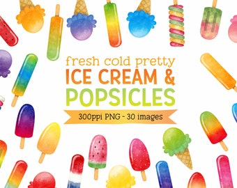 Watercolor Ice Cream & Popsicles Digital Clipart - Summer Cold Treat Images