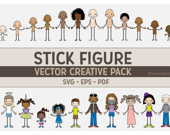 Vector Family Stick Figures SVG | PDF | EPS - Line Art - Vector Creative Pack - Create Your Family