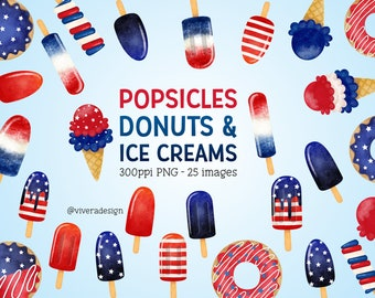 Watercolor American Popsicles, Donuts, and Ice Cream Digital Clipart - Independence Day - Fourth of July Clipart - Sublimations