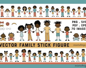 American African Family Stick Figures SVG | PDF | EPS - Line Art - Vector Creative Pack - Create Your Family