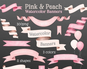 Pastel Pink and Peach Watercolor Banner Clip Art - Digital Cliparts - Digital Banners - Watercolour Ribbon Banners