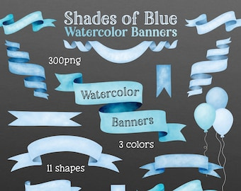 Shades of Blue Watercolor Banner Clip Art - Digital Cliparts - Digital Banners - Watercolour RIbbon Banners