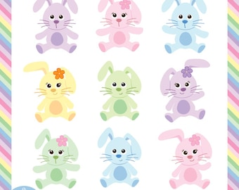 Easter Bunny Digital Clip Art - 9 cute bunnies