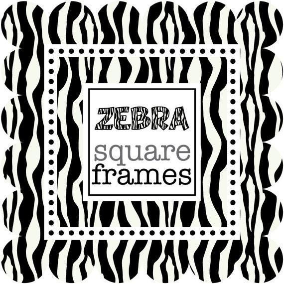 Digital Clip Art Square Frames in Zebra Print | Etsy
