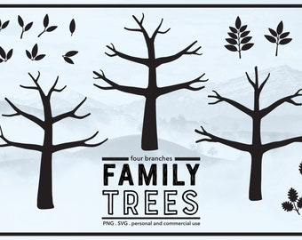 Family Tree with No Leaves - Winter Tree - Thumb Print Tree Ideas - Bare Tree - PNG & SVG