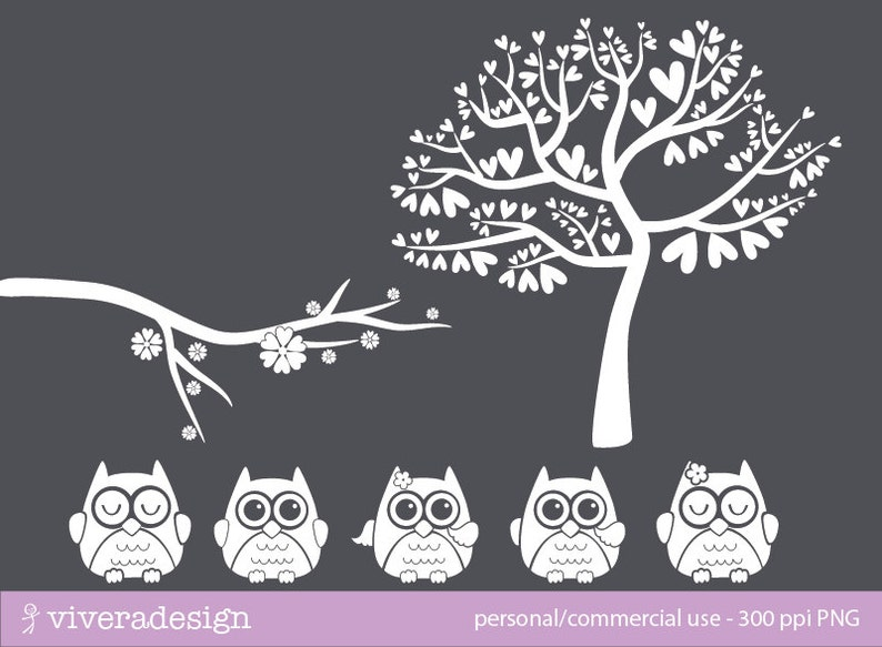 Owl and Tree Silhouette in Solid White Digital Clip Art | Etsy