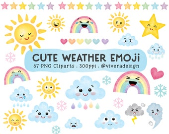 Cute Weather Emoji Cliparts - Weather Watercolor Clip Arts - Sun, Clouds, Rainbow, and Stars