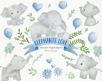 Mother and Baby Elephants with Balloons and Leaves | Watercolor Digital Clip Arts | Blue and Green | Watercolor Elephants | Nursery Cliparts