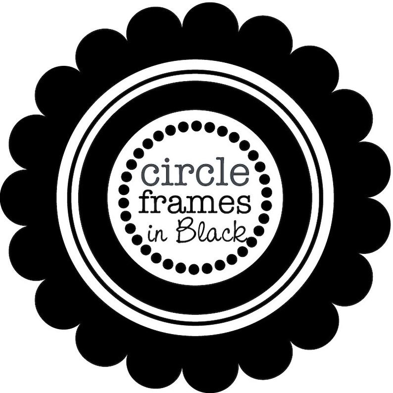 Circle Frames in Pure Black Digital Clipart