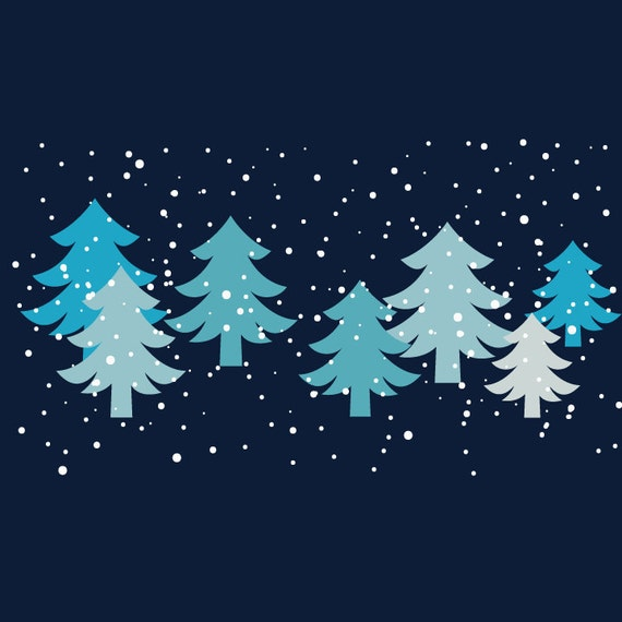 Image result for blue and green winter trees clipart