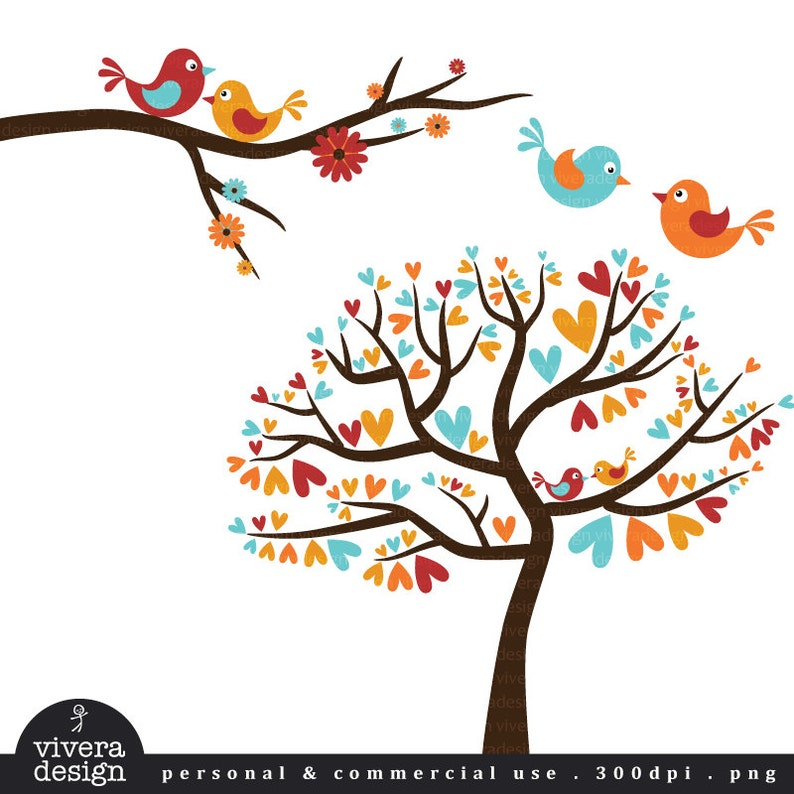 Love Birds In Autumn Colors Vintage Fall Digital Clip Art Etsy