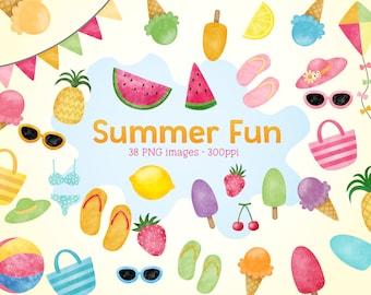Summer Fun Watercolor Clip Arts - Icepops, Popsicle, Beach Balls, Bright Fun Watermelon, Strawberry Cliparts