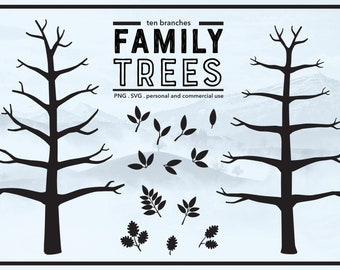 Family Tree 10 Branches with No Leaves - Winter Tree - Thumb Print Tree Ideas - Bare Tree - PNG & SVG