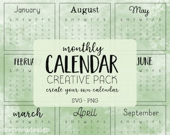 Any Year - Master Calendar - Handwritten Monthly Calendar Creative Pack - Instant Download - Every Year Calendar - PNG & SVG