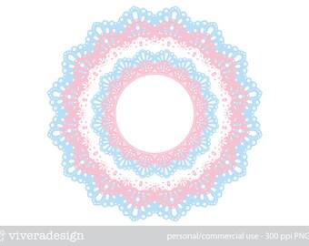 Elegant Lace - Pink Blue and White - Digital Frame