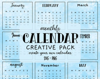 Any Year - Master Calendar - Cute Handwritten Monthly Calendar Creative Pack - Instant Download - Every Year Calendar - PNG & SVG