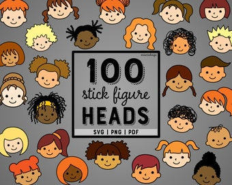 Kids Head Stick Figures - SVG | PNG | PDF - With Colors - Vector Creative Pack - 100 heads