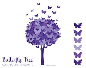 Butterfly Tree Digital Clip Art - Purple - PNG   SVG