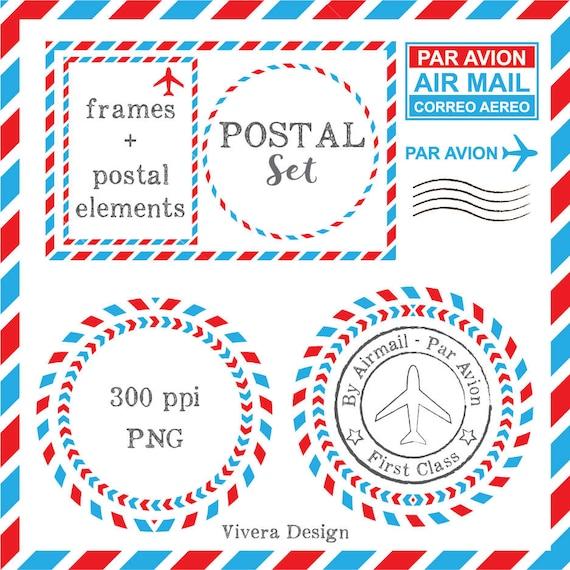 Postal correo aéreo Marcos y Cliparts Digital círculo   Etsy