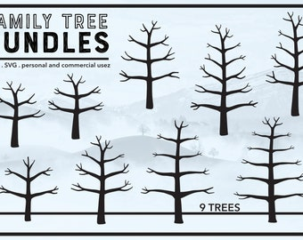 Family Tree Bundles - Winter Tree - Thumb Print Tree Ideas - Bare Tree - PNG & SVG