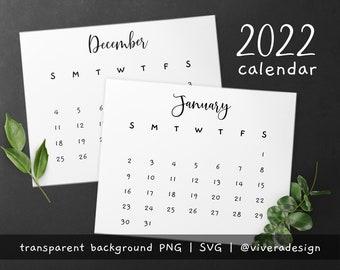 2022 Calendar Clip Art in Fancy and Cute Handwritten Font - Instant Download - PNG & SVG