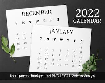 2022 Calendar Clip Art in Serif Font | SVG | PNG | Instant Download