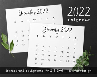 2022 Calendar Clip Art in Fancy and Cute Handwritten Font - Instant Download - PNG & SVG - with Year