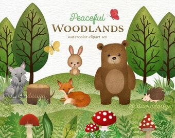 Peaceful Woodlands - Watercolor Animal Clip Arts - Bear, Bunny Rabbit, Wolf, Hedgehog, Fox, Red Mushrooms - Digital Watercolor Illustrations