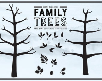 Family Tree 8 Branches with No Leaves - Winter Tree - Thumb Print Tree Ideas - Bare Tree - PNG & SVG