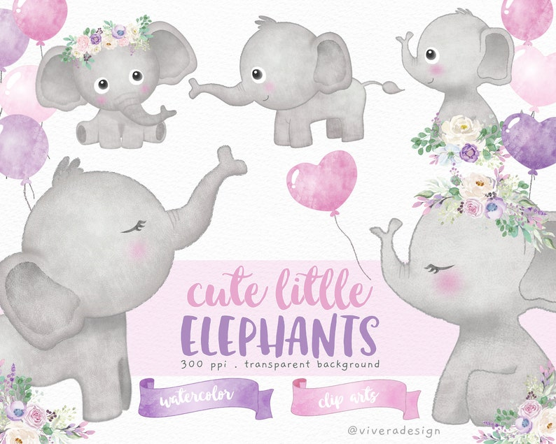 Cute Little Elephants Balloons and Flowers  Watercolor image 0